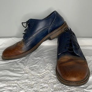 Naot men's brown to navy ombré airport friendly wing tip tied leather Oxfords 43